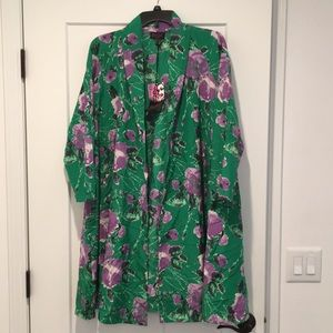 Silk/cotton blend A-line 3/4 sleeve jacket